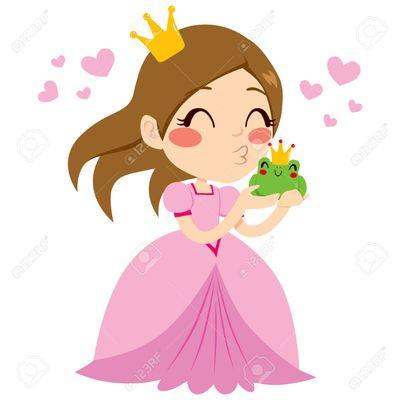 28030051-Peque-a-princesa-hermosa-que-besa-lindo-pr-ncipe-rana-verde-con-corona-Foto-de-archivo