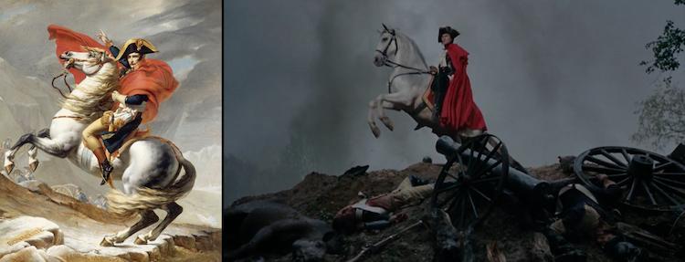 Jacques-Louis David, Napoleon Crossing the Alps (1801) y Sofia Coppola, Marie Antionette (2006)