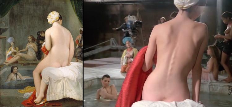 Jean-Auguste-Dominique Ingres, La petite baigneuse - Intérieur de harem (1828) y Jean-Luc Godard, Passion (1982)