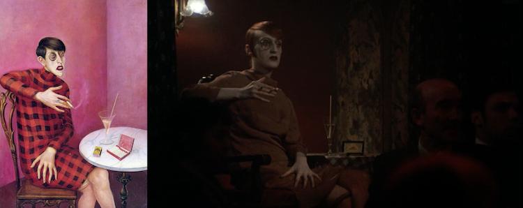 Otto Dix, Portrait of the Journalist Sylvia von Harden (1926) y Bob Fosse, Cabaret (1972)