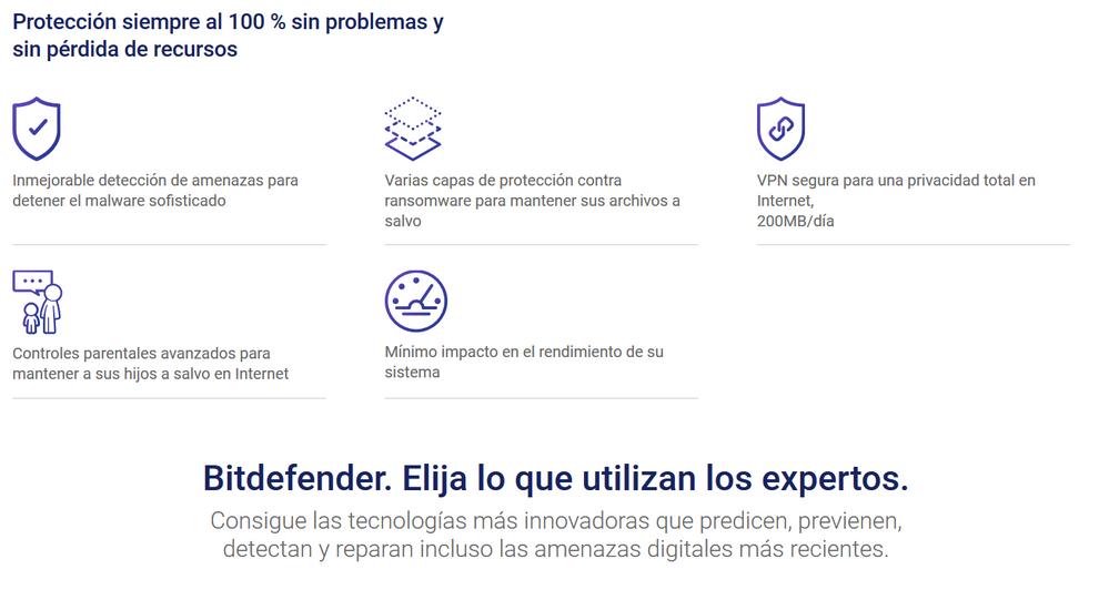 Ningún virus se le resiste!! Fuente: Bitdefender (https://www.bitdefender.es/solutions/total-security.html?cid=ppc c Google 50Off&gclid=CjwKCAiAwJTjBRBhEiwA56V7q4fwvr4IDdK8ZLjeiYdveDWiQJPVmBVemuhAnjZhNkKqmhJTL7vMuhoCmoUQAvD_BwE)