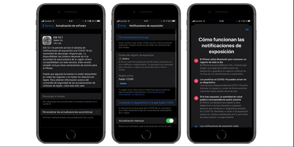 El nuevo sistema integrado de Apple para combatir el COVID 19. Fuente: Actualidad iPhone (https://www.actualidadiphone.com/ios-13-7-ya-disponible-con-la-nueva-notificacion-por-exposicion-express/)