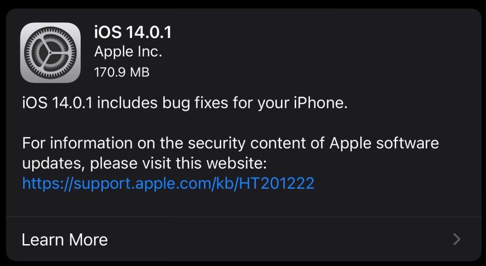 ¿Problemas en tu iPhone? Actualiza a iOS 14.0.1 Fuente: Jimmy Tech (https://jimmytechsf.com/macos-10-15-7-ios-14-0-1-ipados-14-0-1-watchos-7-0-1-tvos-14-0-1-released/)