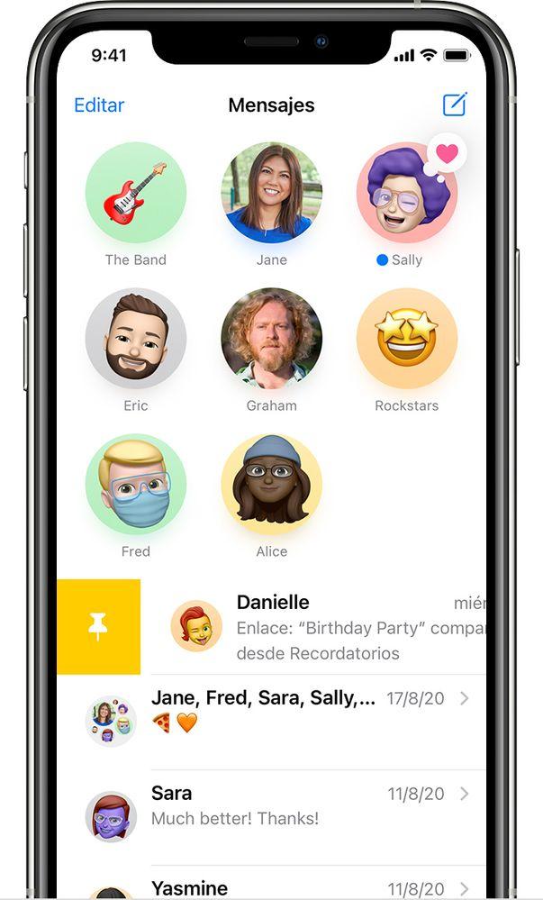 Fija tus conversaciones más importantes para no perderte ni un mensaje. Fuente: Apple (https://support.apple.com/es-es/HT201287)