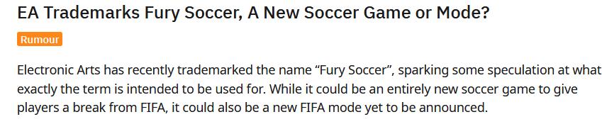 De qué se tratará??? Fuente: Reddit (https://www.reddit.com/r/GamingLeaksAndRumours/comments/jvs4sd/ea_trademarks_fury_soccer_a_new_soccer_game_or/)