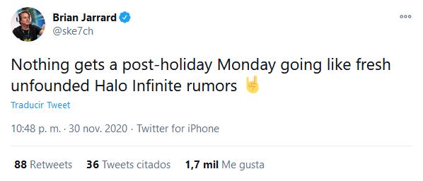 Parece que no le ha hecho mucha gracia el rumor. Fuente: Twitter (https://twitter.com/ske7ch/status/1333528290057830401)