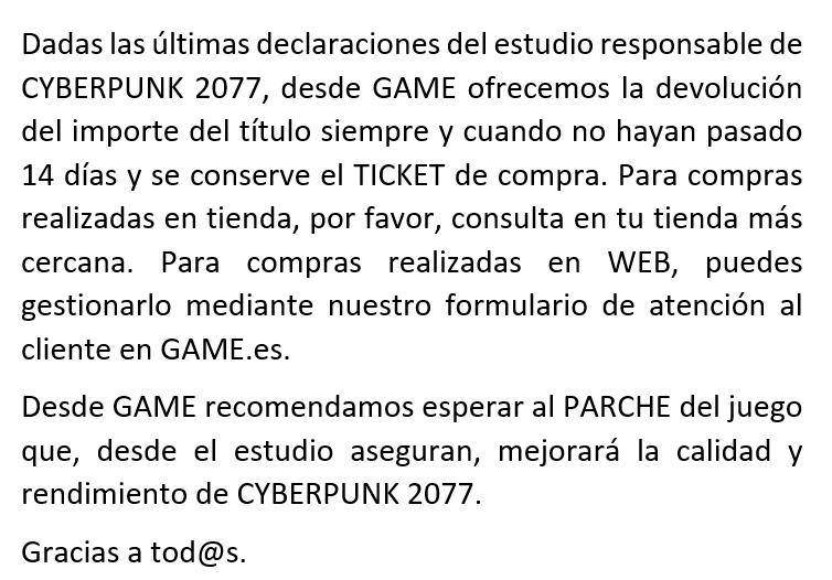 GAME ha tenido que rectificar… Fuente: Twitter (https://twitter.com/VideojuegosGAME/status/1338459370309476352)