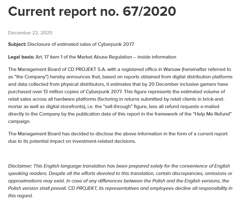 Las ventas no les han ido tan mal. Fuente: CD Projekt (https://www.cdprojekt.com/en/investors/regulatory-announcements/current-report-no-67-2020/)