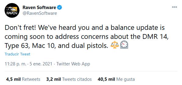 Nos escucharon, pero parece que la información no les llegó completa. Fuente: Twitter (https://twitter.com/RavenSoftware/status/1346584300339175424)