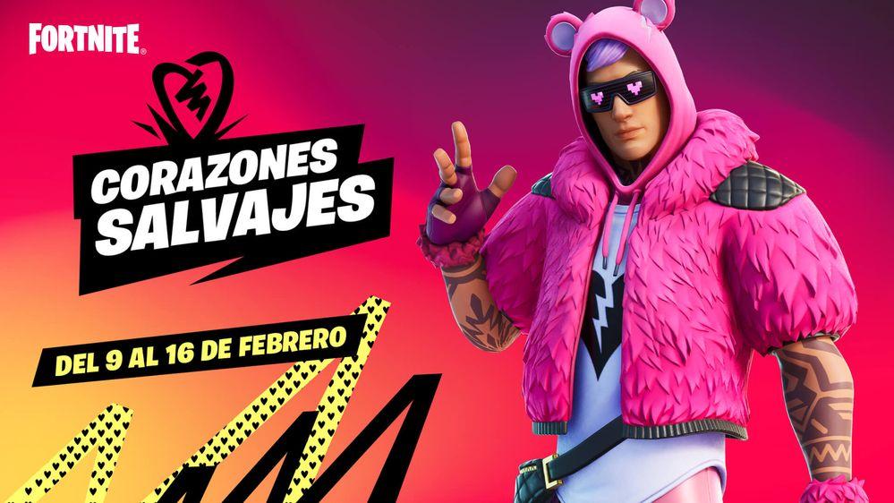 Un evento que acelera el corazón. Fuente: Epic Games (https://www.epicgames.com/fortnite/es-ES/news/hearts-wild-lots-to-love-in-fortnite-for-valentines-season)