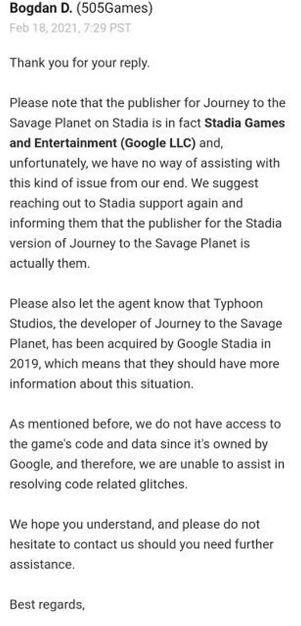 No pueden hacer nada. Fuente: Kotaku (https://kotaku.com/stadia-developers-cant-fix-the-bugs-in-their-own-game-b-1846331302)