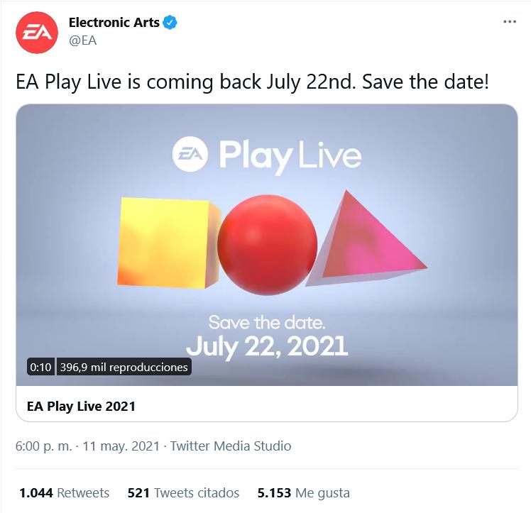 Se desmarca de la E3. Fuente: Twitter (https://twitter.com/EA/status/1392147491915763719)