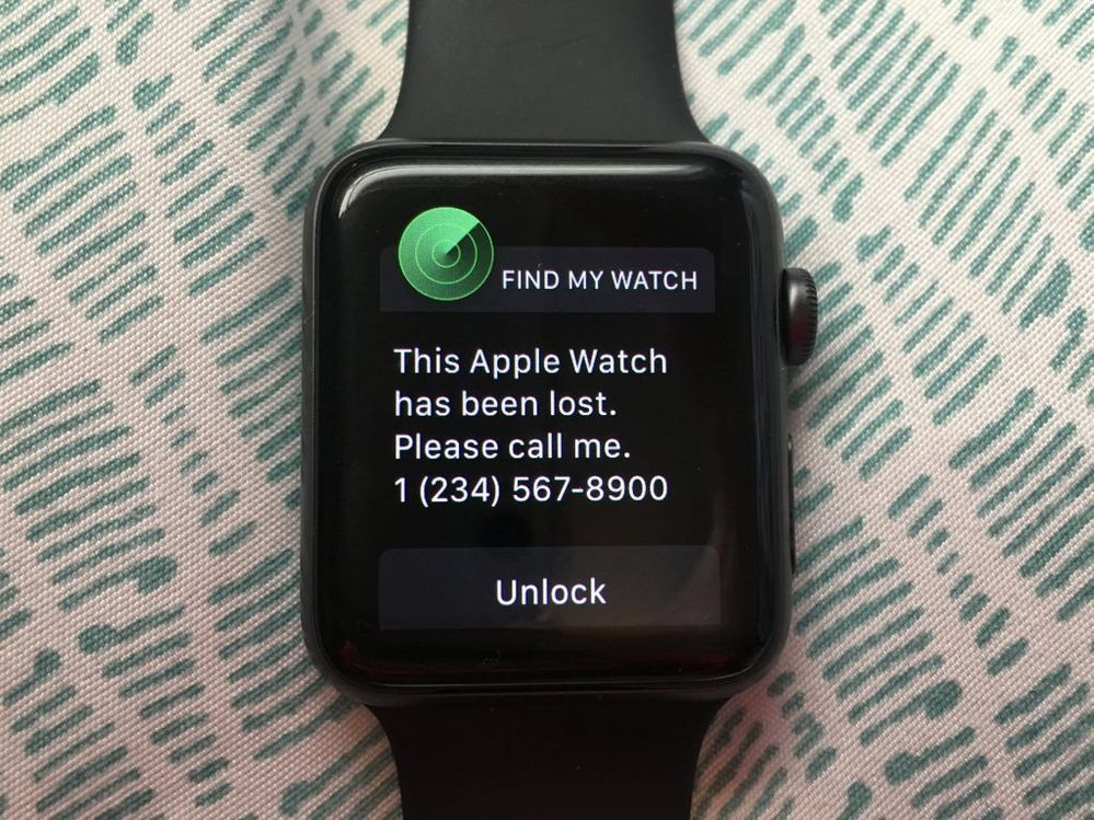 Este es el mensaje que te ahorrará la pérdida. Fuente: La tecnología a tu alcance (https://latecnologiaatualcance.com/como-encontrar-apple-watch-usando-el-iphone/)