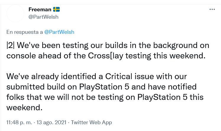 En PS5 se quedaron sin prueba. De momento. Fuente: Twitter (https://twitter.com/PartWelsh/status/1426299526734827523)