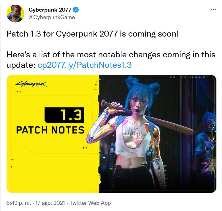 Conseguirán remontar las ventas?? Fuente: Twitter (https://twitter.com/CyberpunkGame/status/1427673984456445957)
