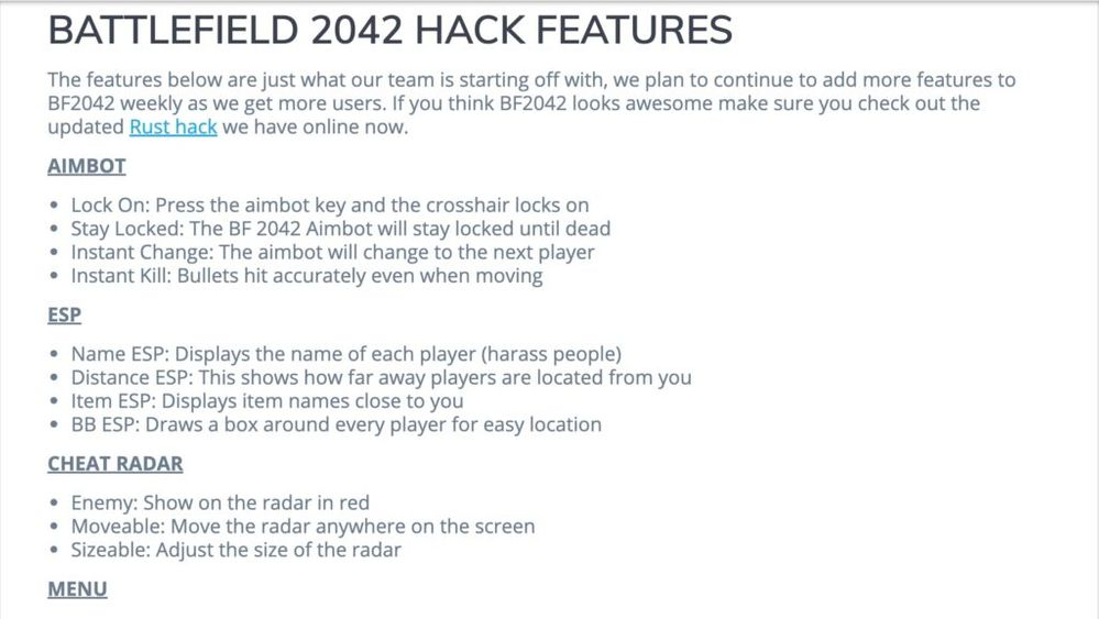 Increíble!! Fuente: Charlieintel (https://charlieintel.com/a-cheat-provider-is-unfortunately-already-offering-hacks-for-battlefield-2042/117584/)