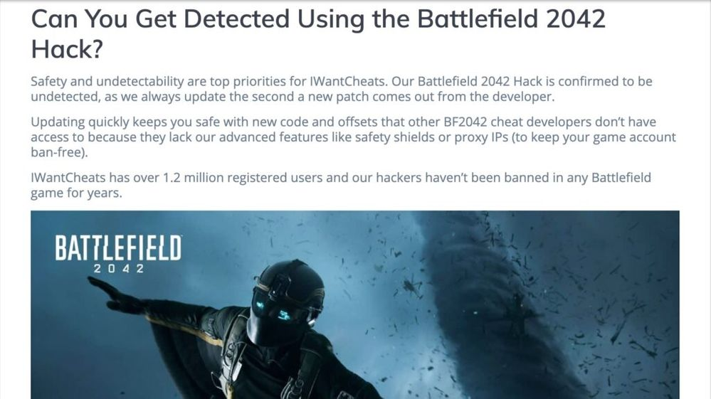 Qué pensáis que harán EA y DICE al respecto?? Fuente: Charlieintel (https://charlieintel.com/a-cheat-provider-is-unfortunately-already-offering-hacks-for-battlefield-2042/117584/)